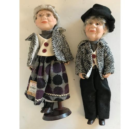 One Off Joblot of 6 Madame Posh Old Lady Porcelain Dolls (2 In Each Pack)