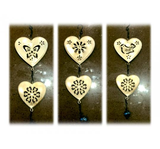 Set of 2 Metal Hanging Silver Hearts Garden Decorations -  30 Units Per Lot - 1 Lot Available