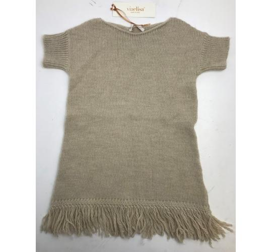 One Off Joblot of 4 Viaelisa Girls Wool Blend Taupe Tassel Dress Sizes 6-14