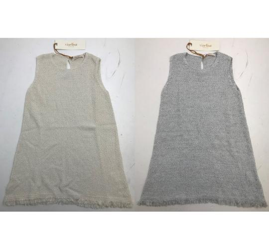 One Off Joblot of 6 Viaelisa Girls Sleeveless Waffle Dresses Cream & Grey