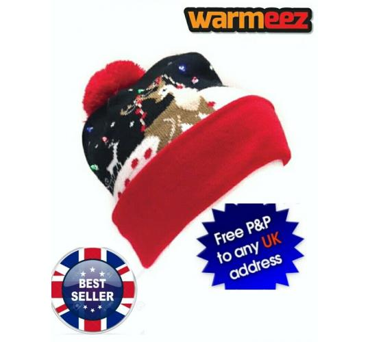 CHRISTMAS Led 3 function Beanie Hat x 12 (5850)