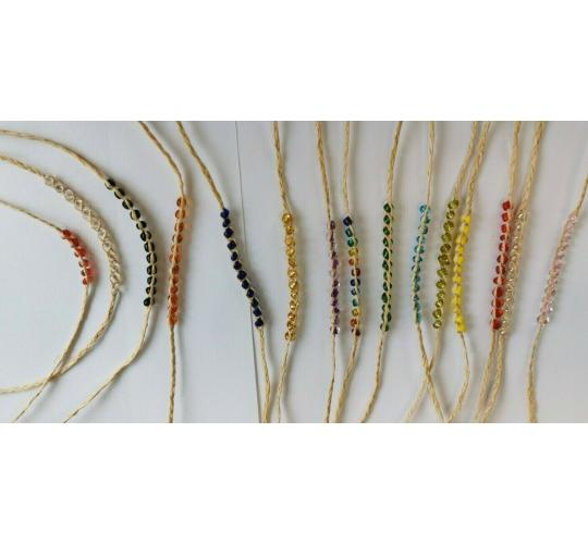 Wholesale Joblot Of 100 Natural Cord Beaded Bracelets Mixed Colours