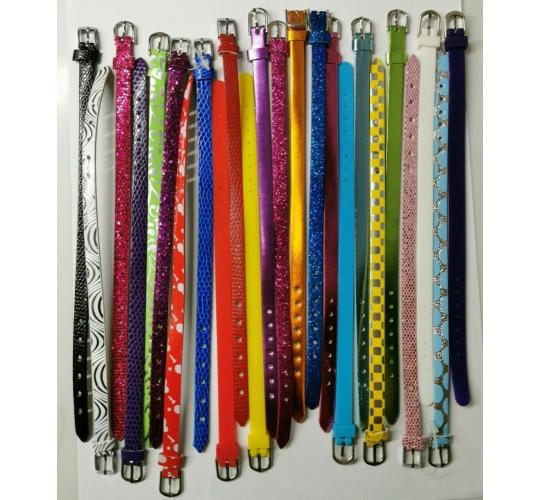 Wholesale Joblot of 50 Mixed Buckled Thin Strap Bracelets Glitter, Faux Leather