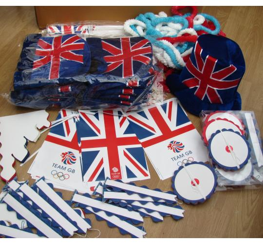 Large Olympic job lot with a retail value of £2572.22 Flags, garlands, decorations, party poppers etc