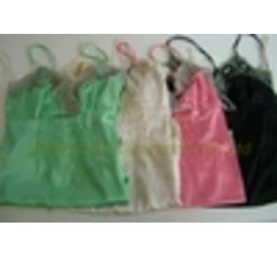 JOBLOT OF 5 MIXED CHILLI PEPPER LACE TRIM SATIN CAMISOLES