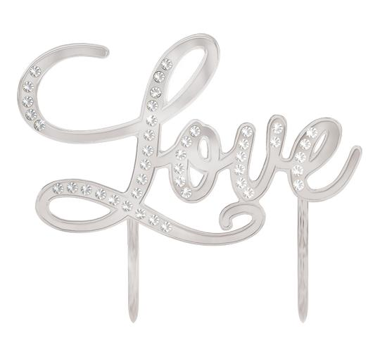 "Wholesale Joblot of 30 Amscan Love Cake Topper in Silver 5"" x 5.2"""