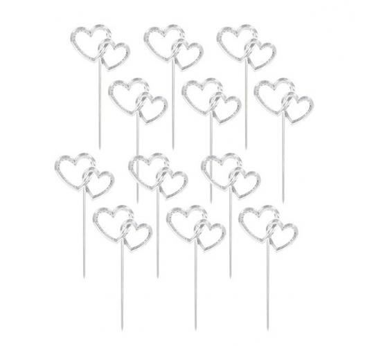 Wholesale Joblot of 24 Amscan Interlocking Hearts Cake Picks (Pack of 12)