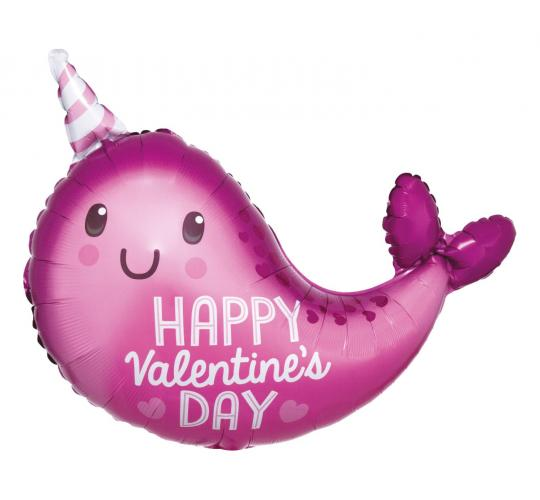 Wholesale Joblot of 30 Amscan Anagram Happy Valentine's Day Narwhal Foil Balloon 22""