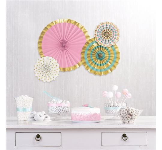 Wholesale Joblot of 30 Amscan Pastel and Gold Theme Paper Fans Decorations (Pack of 4)