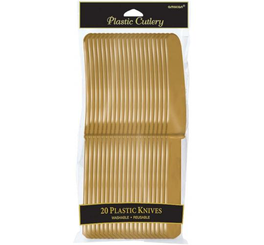 Wholesale Joblot of 40 Amscan Gold Colour Plastic Knives Reusable (Pack of 20)