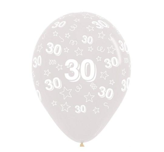Wholesale Joblot of 30 Packs of 25 Amscan Clear 30th Birthday Balloons 12""