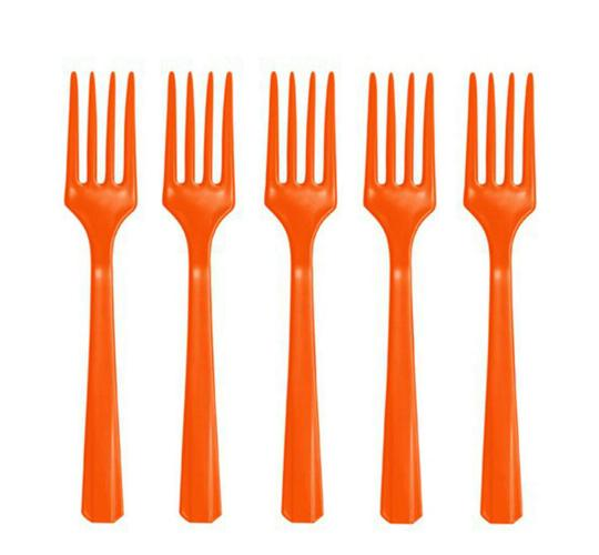Wholesale Joblot of 24 Amscan Heavy Weight Orange Plastic Forks (Pack of 48)