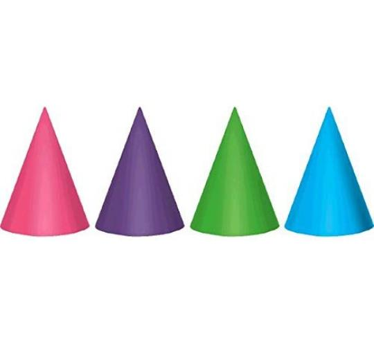 Wholesale Joblot of 40 Amscan Cone Party Hats in 4 Colours (Pack of 12)