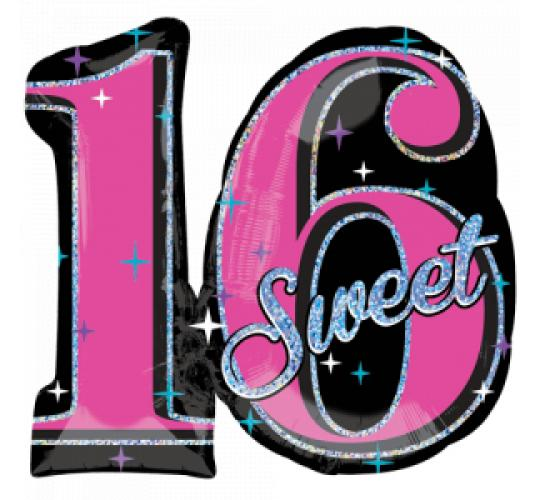Wholesale Joblot of 20 Amscan Anagram Sweet 16 SuperShape Foil Balloon 28""