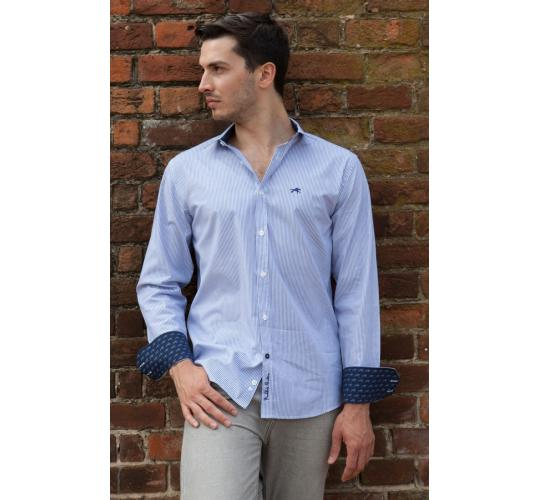 Wholesale Joblot of 10 Freddie Parker Mens Blue Stripe Classic Fit Shirt S-XXL