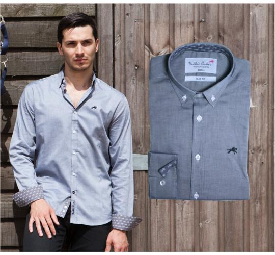 Wholesale Joblot of 10 Freddie Parker Mens Grey Slim Fit Logo Shirt Mixed Sizes