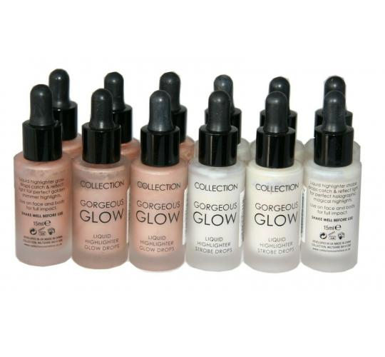 48 x Collection Gorgeous Glow Liquid Highlighter Drops | Strobe 1 and Glow 2 |