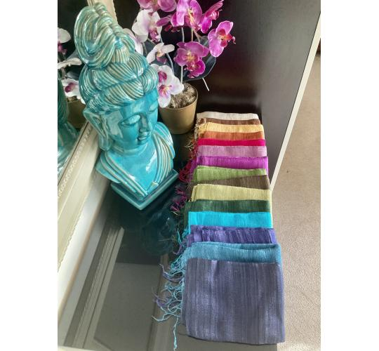 Joblot of 30Pcs Beautiful, elegant handmade 100% Raw Matte Eri Course weave Silk Scarf Shawl from Thailand