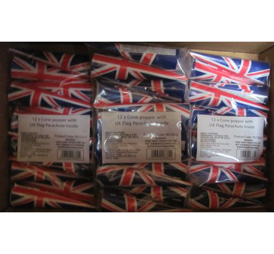 Pallet of Union Jack party poppers RRP £8625.60! The Olympics are coming!