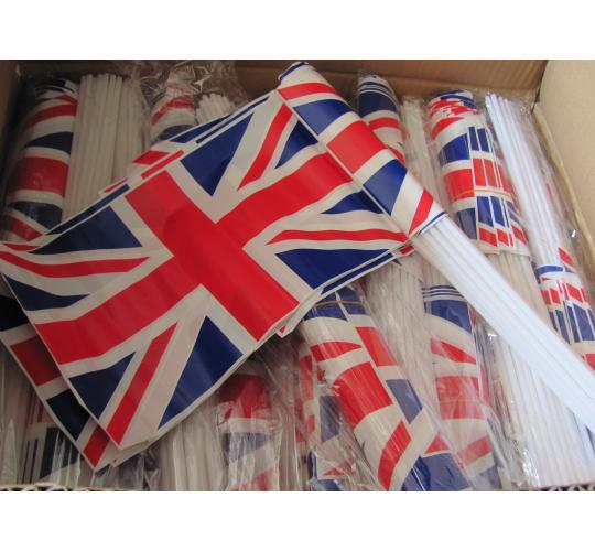 2000 Union jack flags on sticks.  40 packs of 50