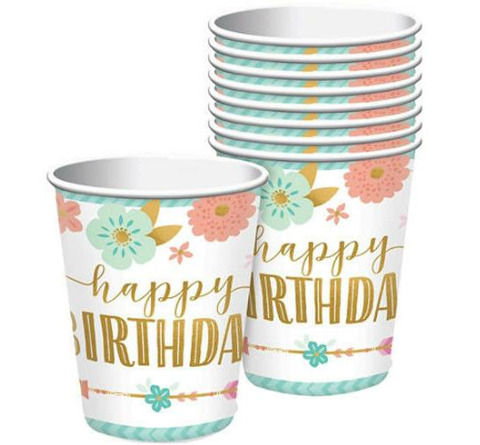 Wholesale Joblot of 60 Amscan Boho Girl Happy Birthday Party Cups (Pack of 8)