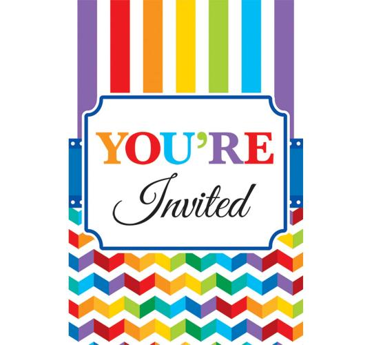 Wholesale Joblot of 30 Amscan Rainbow Invitation Cards (Pack of 20)