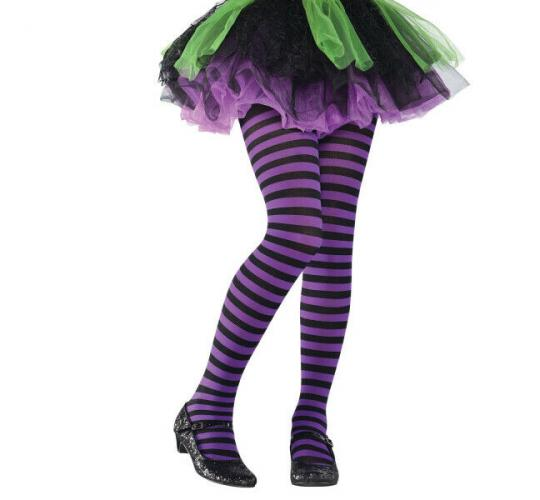 Wholesale Joblot of 50 Amscan Purple & Black Striped Tights 6/8 Years