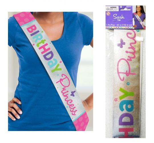 Wholesale Joblot of 48 Amscan Birthday Princess Sash Silver/Pink 60""