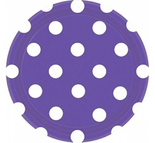 "Wholesale Joblot of 72 Amscan Purple Polka Dot Paper Party Plates 9"" (Pack of 8)"
