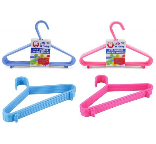 72 PACKS - 8PCS CHILDREN BLUE &  PINK CHILDREN PLASTIC COAT HANGERS- 29cm wide ideal for baby & toddler clothes
