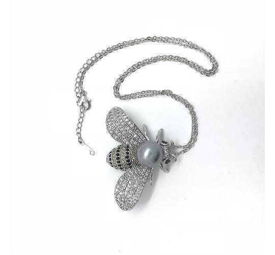 20 x Silver Bee Shaped Necklace Brooch Pin & Chain made with Cubic Zirconia l UK SELLER l GCJBR064-S