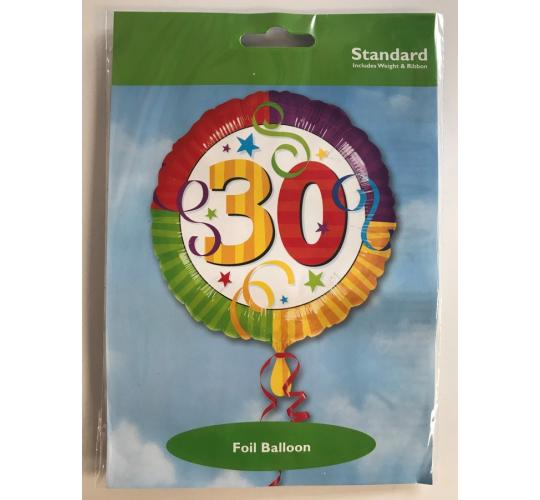 Wholesale Joblot of 50 ValueLine 30th Birthday/Anniversary Foil Balloon 17""