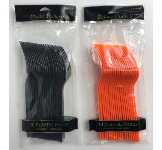 Wholesale Joblot of 40 Amscan Plastic Forks in Black and Orange (Pack of 20)