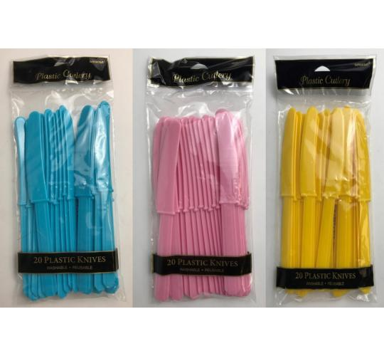Wholesale Joblot of 40 Amscan Plastic Knives in 3 Colours Reusable (Pack of 20)
