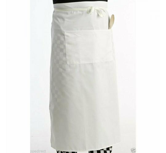 10 White chef catering waist apron with pocket 70 × 70cm 100% cotton PPED017 New