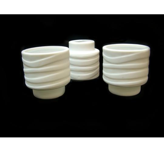 Joblot of 36 Porcelain White Wave Patterned Candle Holders