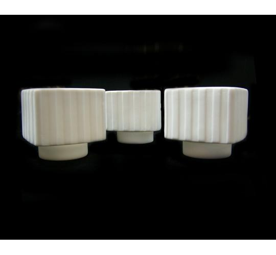 Joblot of 96 Porcelain White Stripe Patterned Candle Holders