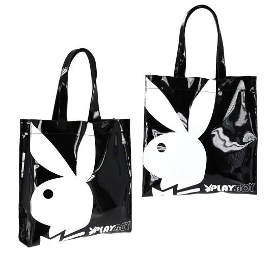Playboy Gift range large patent shopper bag Black/White PA7699-BLK