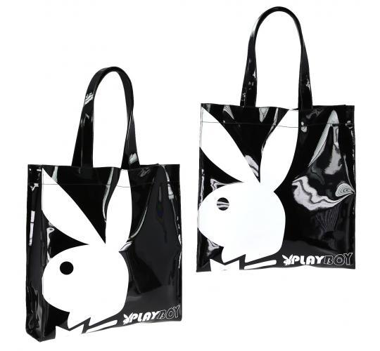 Playboy Gift range large patent shopper bag Black/White PA7699-BLK