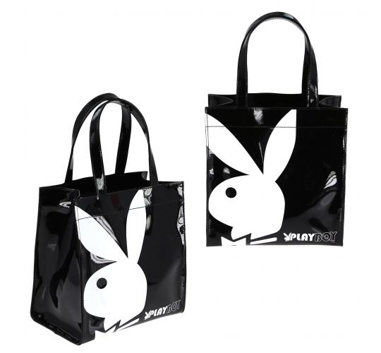 Playboy Gift range small patent shopper bag Black/White PA7700-BLK