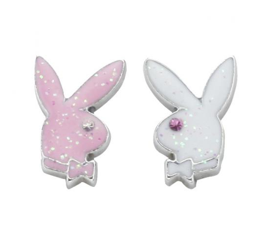 Playboy Glitter Enamel Wording Earrings Platinum Plated PJE005