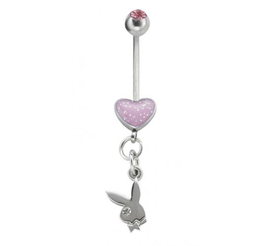 Playboy Enamel Heart Body Bar Surgical Steel PJBB002