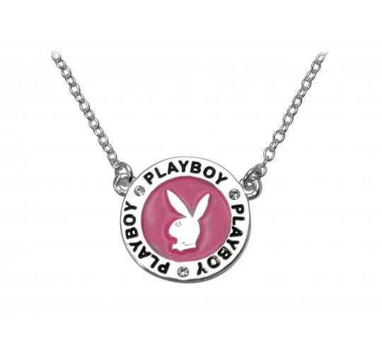 Playboy Enamel Pendent Necklace Platinum Plated Pink CN3145