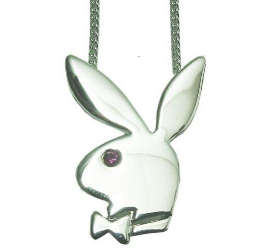 Playboy Classic RHD Necklace Pink Stone Platinum Plated CN077