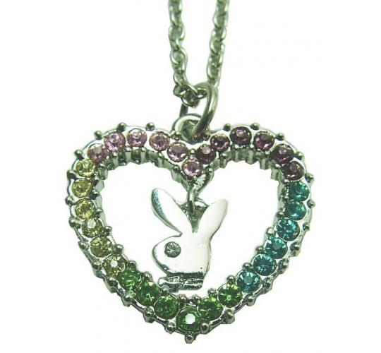 Playboy Multi Stoned Heart RHD Necklace With Rhodium Plated Chain PJN036