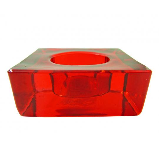 Joblot of 4 Colony Square Red Glass Tealight Holders