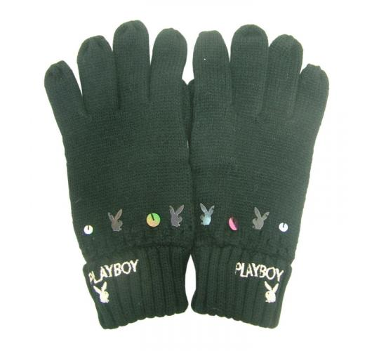 Joblot of 10 Playboy Womens Black & Sequin Detailed Gloves PG0060-BLK