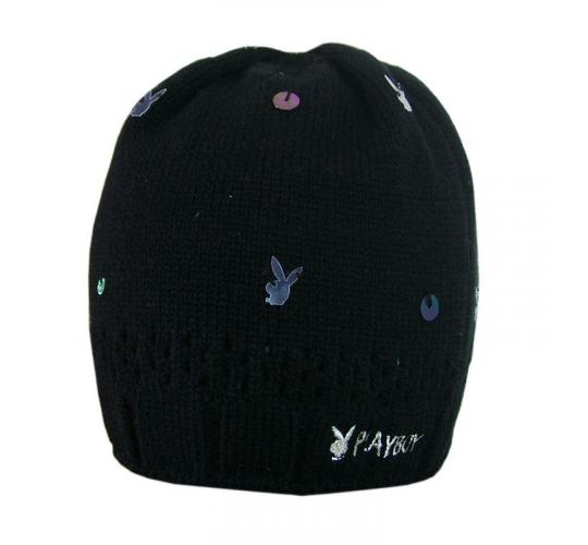 Joblot of 10 Playboy Womens Black & Sequin Detail Hats PH1317-BLK