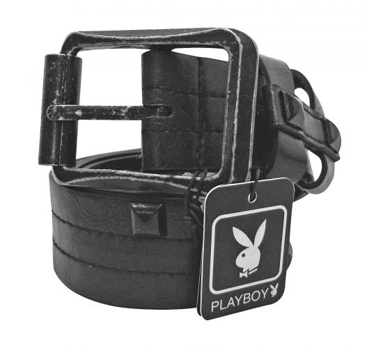 Joblot of 10 Playboy Black Buckle Square Studded Belts Unisex PM0111-BLK