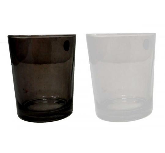 Joblot of 24 Monochrome Glass Candle Holders (M9172DUN)
